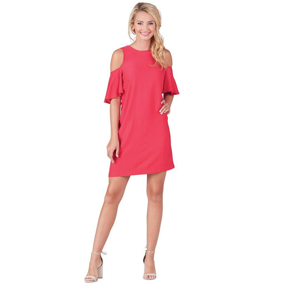 Mudpie Cora Cold Shoulder Dress in Raspberry Pink