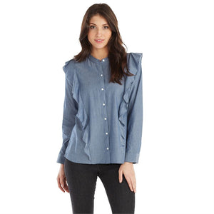 Mudpie Adley Button-Down Ruffle Top Chambray