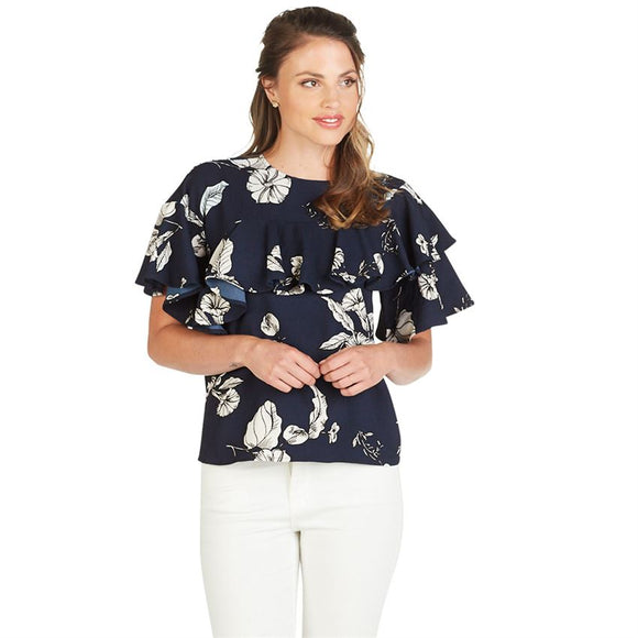 Mudpie London Flounce Top in Navy Floral Print