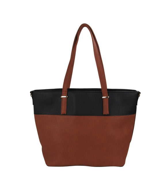 Two Tone Tote Handbag Black/Brown