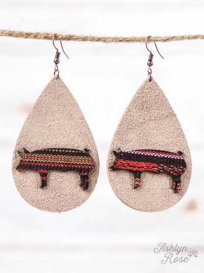 Beige Leather Teardrop Earrings with Serape Pig Cutout, Copper