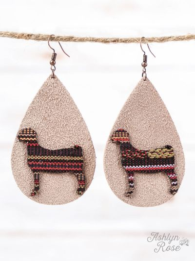 Beige Leather Teardrop Earrings with Serape Goat Cutout, Copper