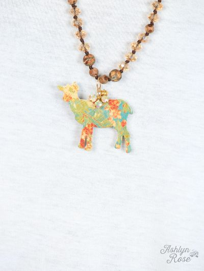 Floral Goat Cutout Necklace, Gold