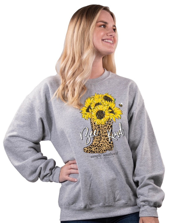Simply Southern Bee Kind Leopard Boot Sweatshirt