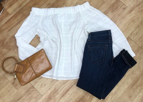 Ladies White Off the Shoulder Top