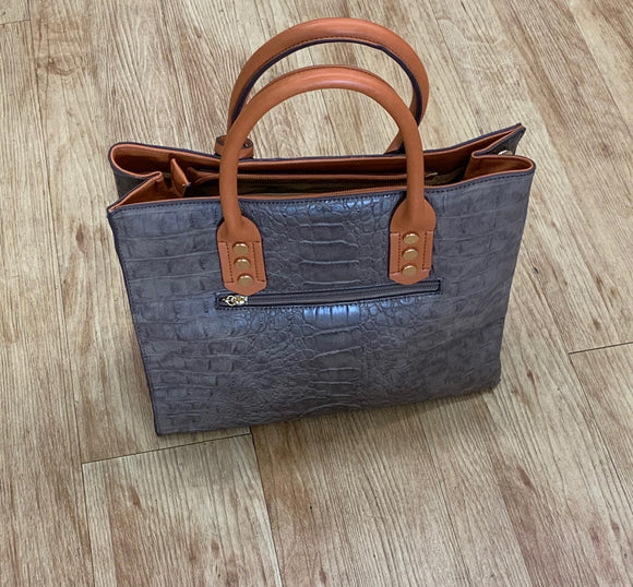 Grey Handbag with Tan Handles