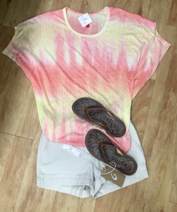 Ladies Peach and Yellow Tie Dye Top