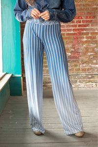 Ladies Blue Stripe Wide Leg Pants
