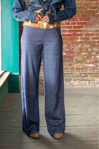Ladies Denim Cowhide Wide Leg Gaucho Pants