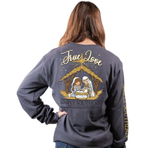 Simply Southern True Love was Born in a Barn Nativity Grey