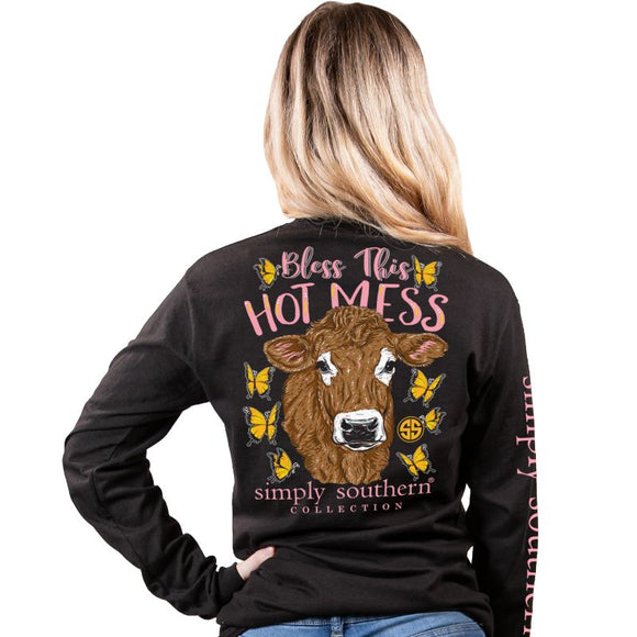 Simply Southern Cow Bless this Hot Mess Black Long Sleeve