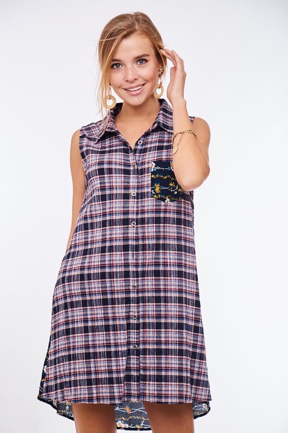 Sleeveless Plaid Floral Shirt Dress