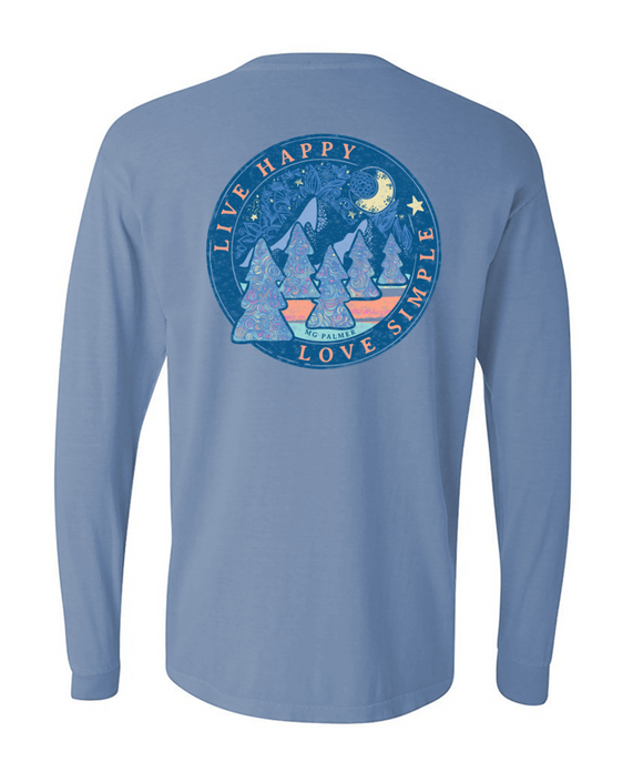 Live Happy Love Simple Moonlit Long Sleeve Tee MG Palmer