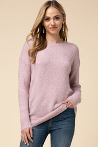 Mauve Round Neck Back Tie Sweater