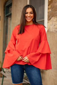 Ladies Coral Double Bell Long Sleeve Scoop Neckline Top