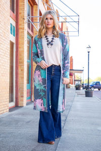 Ladies Blue Pink Splatter Tie Dye Long Sleeve Duster