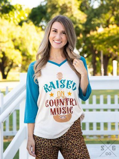 Raised on Country Music on Beige Raglan