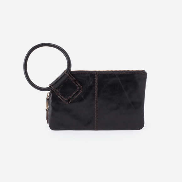 Sable Black Leather Clutch Hobo