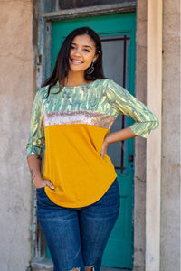 Ladies Cactus Print Colored Block Sequin Top