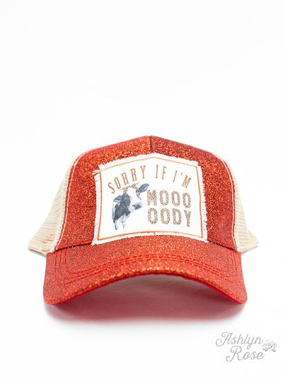 Sorry If I'm MOOODY Red Glitter Ponytail Cap