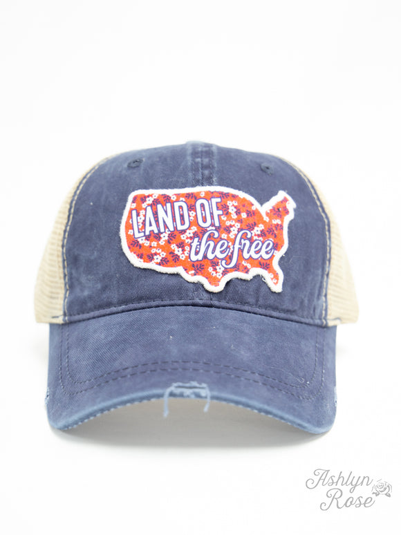 Land of the Free Patch  Ponytail Cap