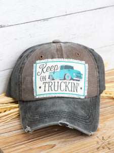 Keep on Truckin' Patch Distressed Cap