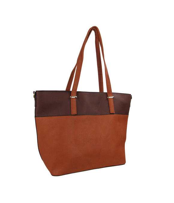 Two Tone Tote Handbag Coffee/Brown