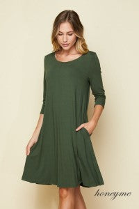 VISCOSE CREPE DRESS OLIVE