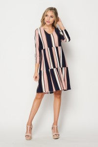 Ladies Colorblock Navy and Pink Dress