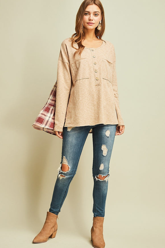 Entro Long Sleeve Plaid Top
