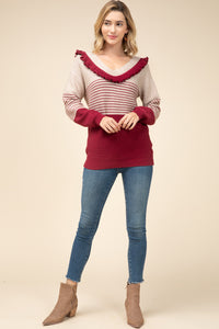 Burgundy Striped Scoop Neck Sweater