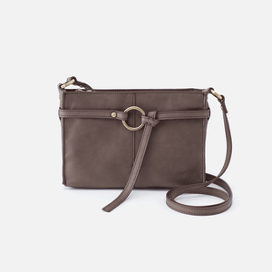 Libra Grey Leather Crossbody Hobo