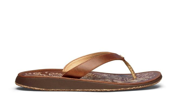 Olukai Ladies Paniolo Brown Leather Flip Flop