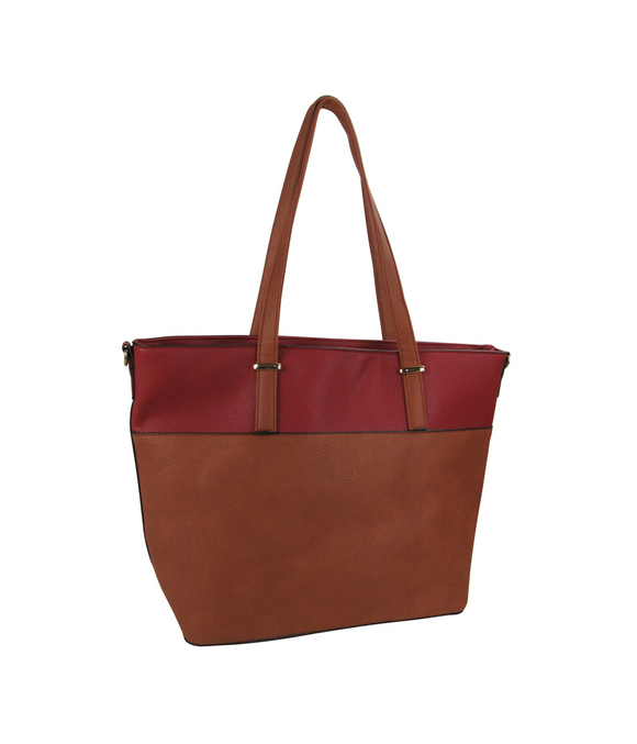Two Tone Tote Handbag Red/Brown