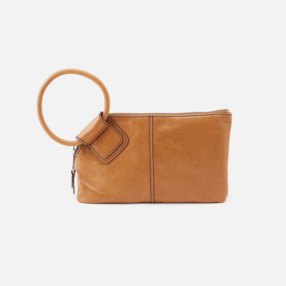 Hobo Wallet Wristlet Sable Cognac Brown Leather