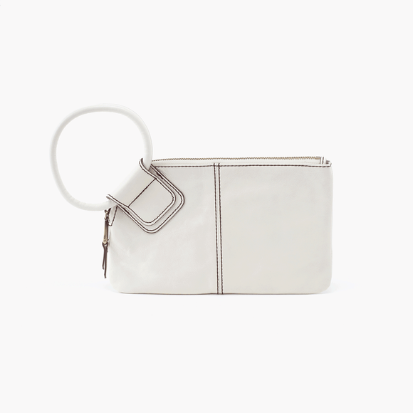 Hobo Wallet Wristlet Sable White Leather