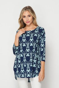 Ladies Navy and Mint Top