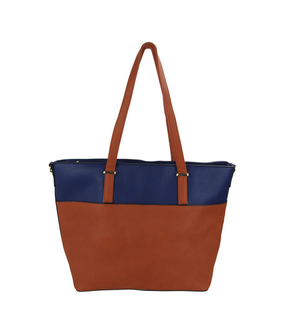 Two Tone Tote Handbag Blue/Brown