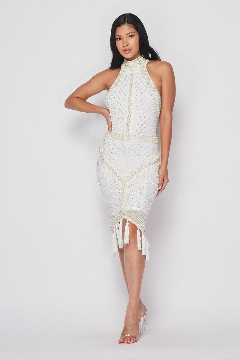 Erika White Pearl Detail Dress
