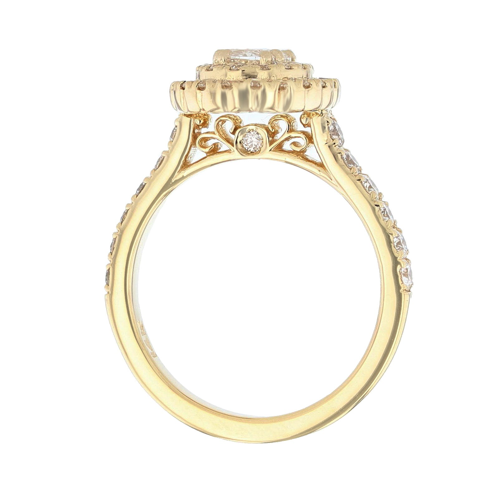 14K Yellow Gold Oval Diamond Double Halo Engagement Ring - Nazarelle