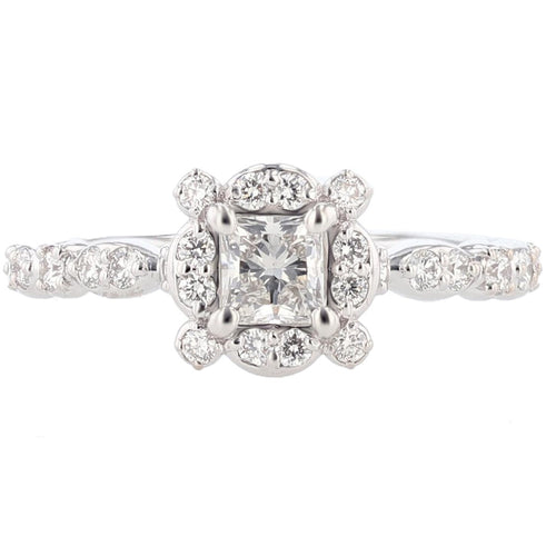 14K White Gold Princess Cut Diamond Engagement Ring - Nazarelle