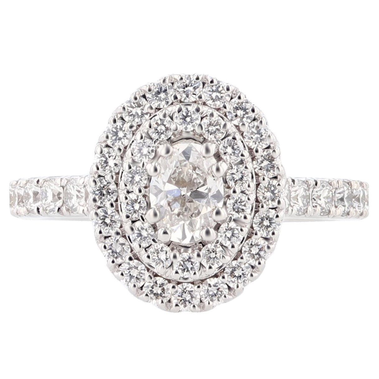 14K White Gold Oval Diamond Double Halo Engagement Ring - Nazarelle