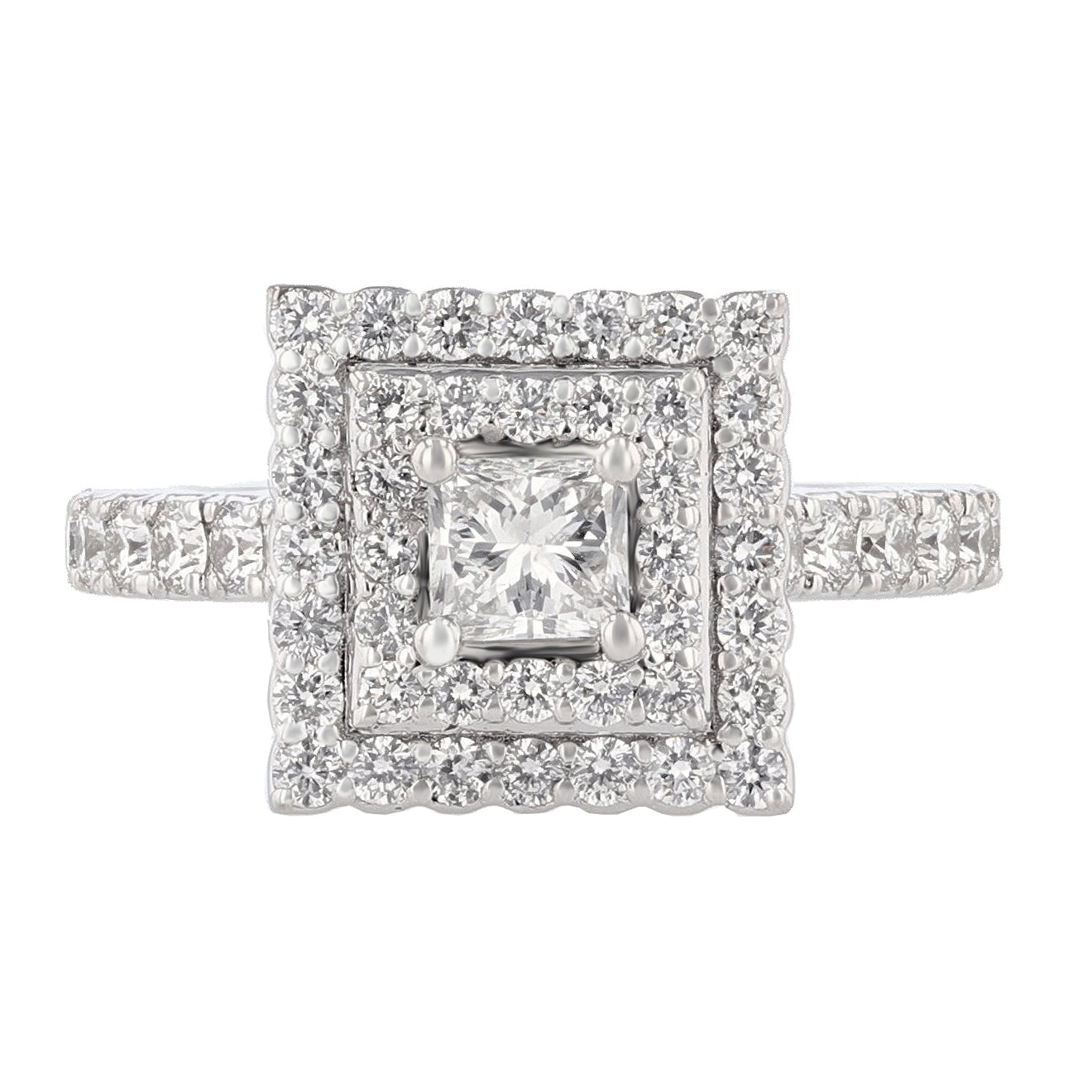 14K White Gold Princess Cut Diamond Double Halo Engagement Ring - Nazarelle