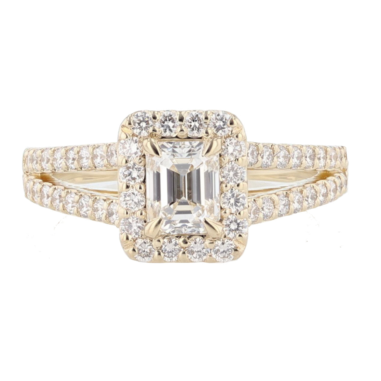 14K Yellow Gold Emerald Cut Diamond Engagement Ring - Nazarelle