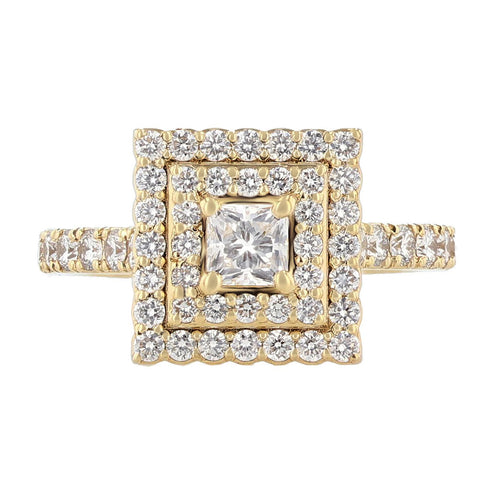 14K Yellow Gold Princess Cut Diamond Double Halo Engagement Ring - Nazarelle