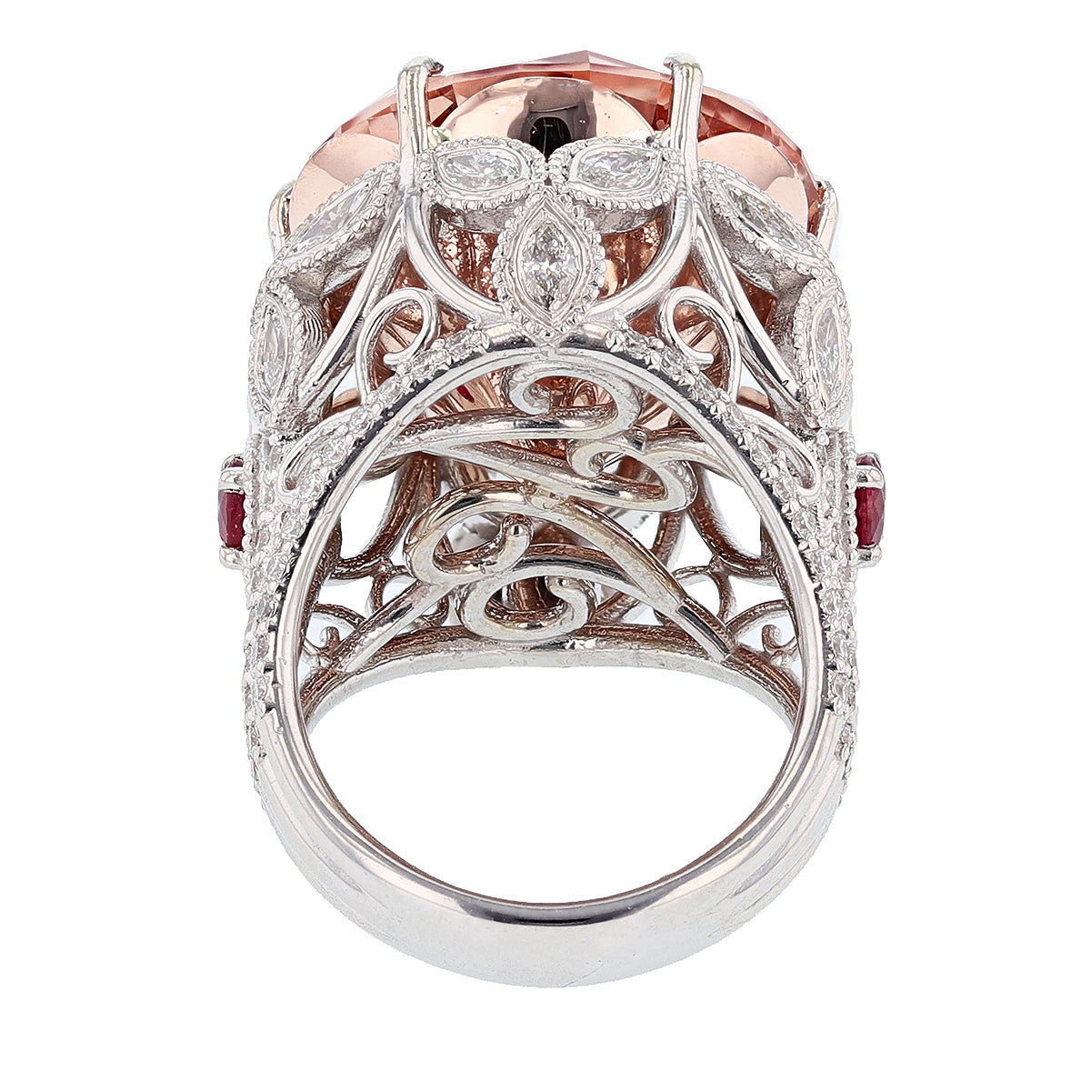 14K White and Rose Gold 23.40Ct Morganite, Diamond, and Ruby Ring