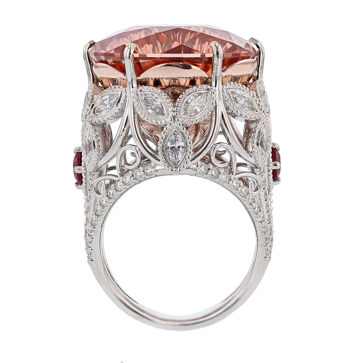 14K White and Rose Gold 23.40Ct Morganite, Diamond, and Ruby Ring - Nazarelle