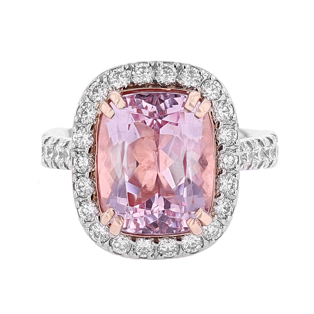 14K Rose Gold Cushion Morganite and Diamond Ring