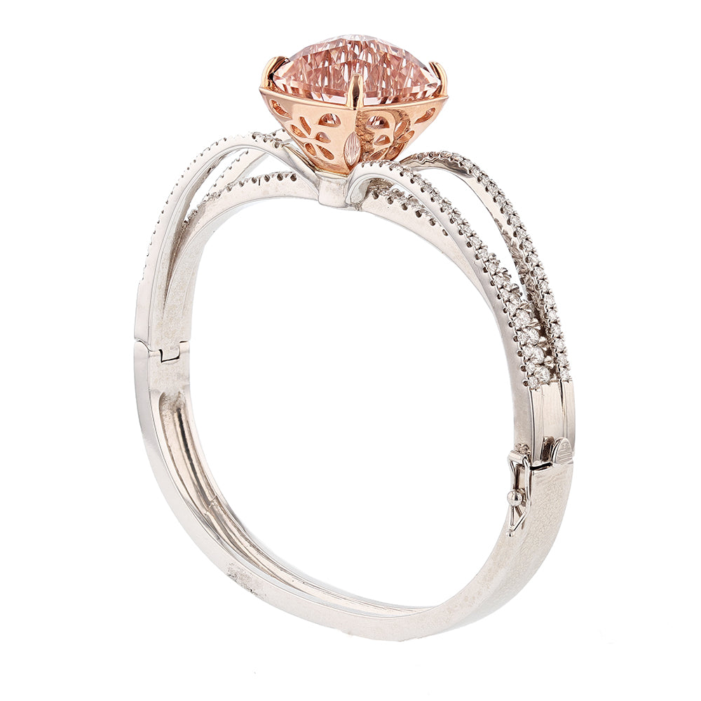 14K White and Rose Gold Cushion Morganite and Diamond Bangle - Nazarelle