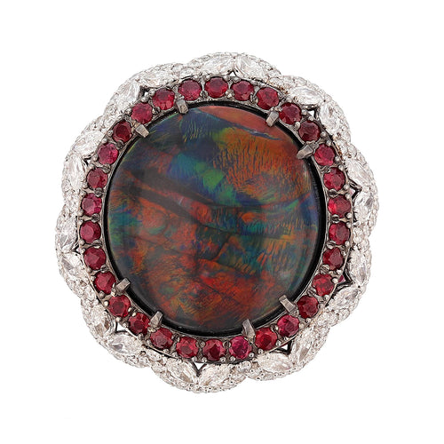 14K White Gold 11.11 Carat Australian Black Opal, Diamond, and Ruby Ring